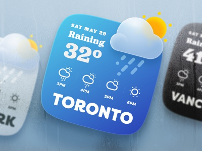 Weather Widget with Blurred Icon ui design adobe xd raining weather widget widget blurred icon weather icon weather