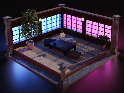 3D Japanese House neon lights neon room madewithsubstance substance stager substance japanese 3d room