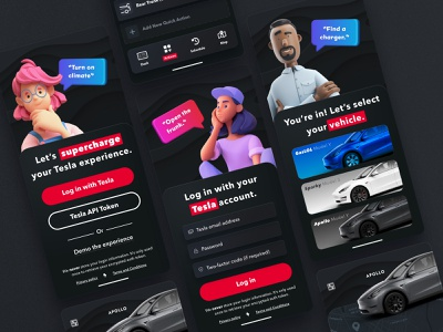 Bestla Redesign Exploration adobe xd bestla car controls mobile app tesla app user interface redesign ui design car app tesla
