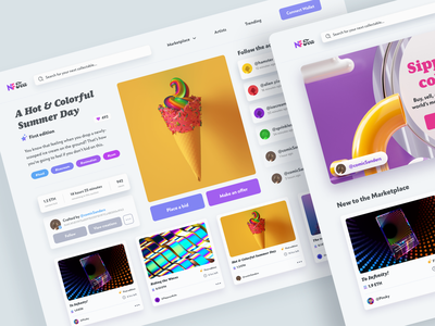 NFTea Collectable Marketplace ui design adobe xd collectables artists gallery nft page landing page cryptocurrency crypto nfts nft