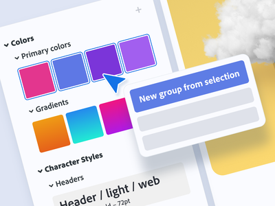 Asset Organization adobe xd groups folders components character styles gradients colors document assets assets product design ui ui design