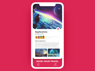 Explore Sepheotera auto-animate adobe xd animation mobile app planet space booking travel