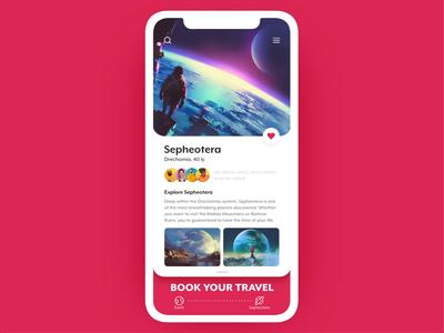 Explore Sepheotera auto-animate adobe xd animation mobile app planet space booking travel