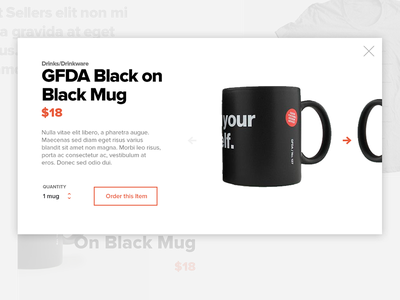 Quick View ecommerce modal hover mug quick view product
