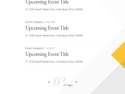 Events list view pagination events
