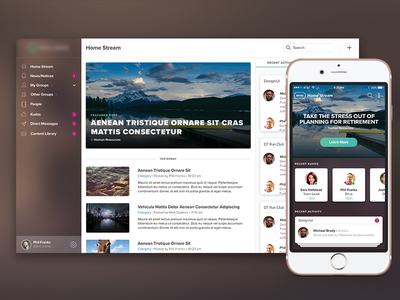 New Things web app cards mobile stream feed product
