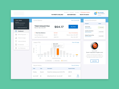 Updated Dashboard utility bill pay bills portal web app dashboard dash
