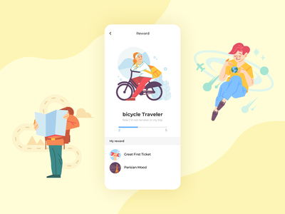 Travel app rewarding illustration design app ui