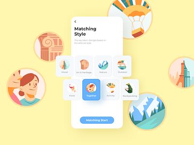 Travel ap: Matching illustration design ui app