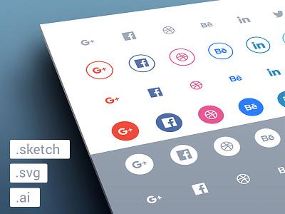 Freebies - Social flat icons set svg sketch ai free flat freebie freebies set social icons