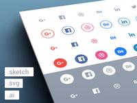 Freebies - Social flat icons set