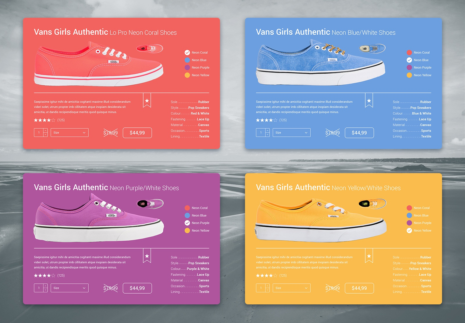 E commerce shoes material design card