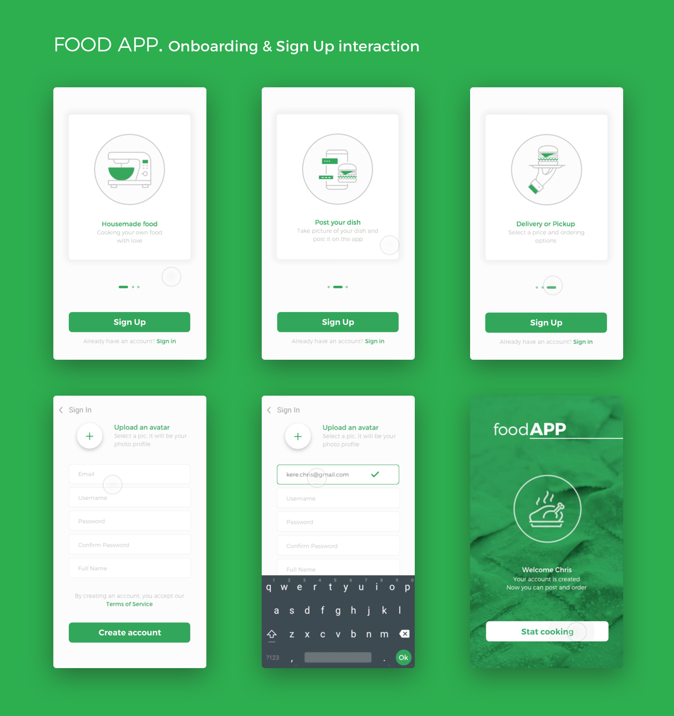 Dribbble food app android onboarding sign up christophe - Application android cuisine ...