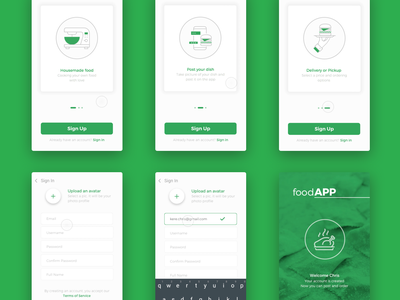 Onboarding & Sign Up food prototype app principle material sign up onboarding