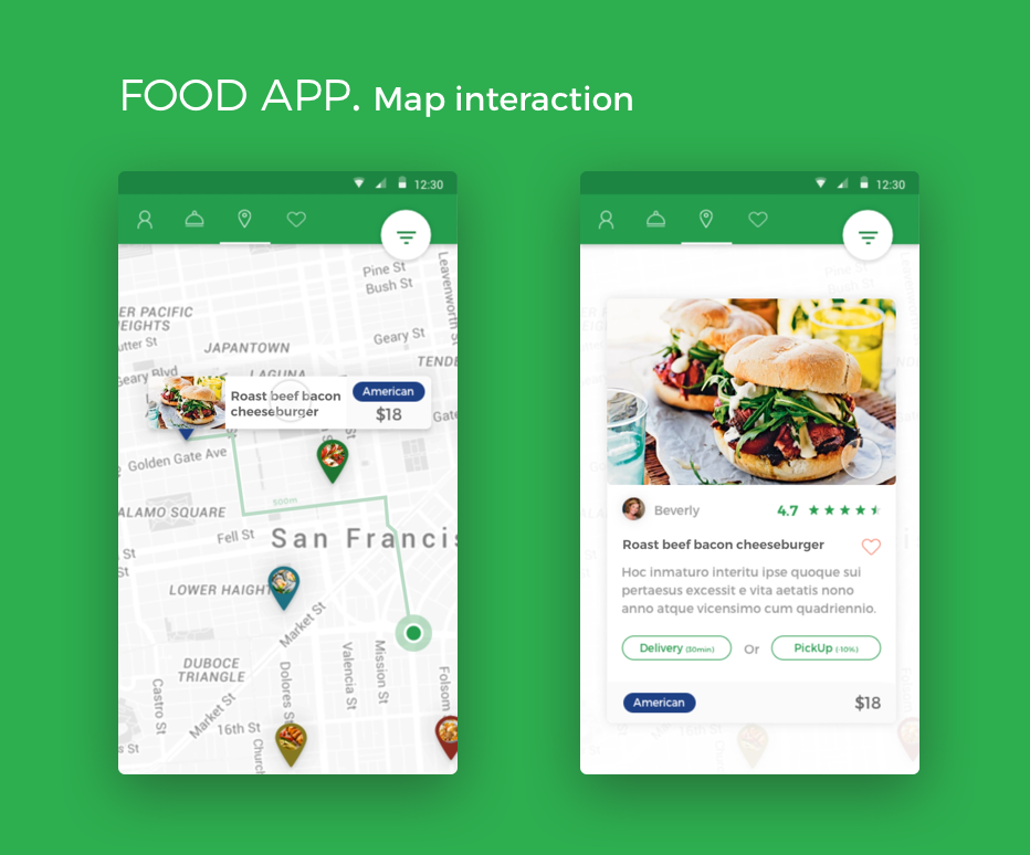 Christophe kerebel projects food app android material dribbble map interaction android food app forumfinder Image collections