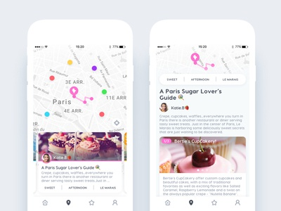 ⚡️ App ui design iOS ⚡️ city cupcake paris design ui ios route map app