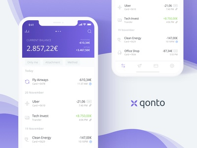 WIP Qonto mobile app ios banking mastercard finance app mobile dashboard qonto