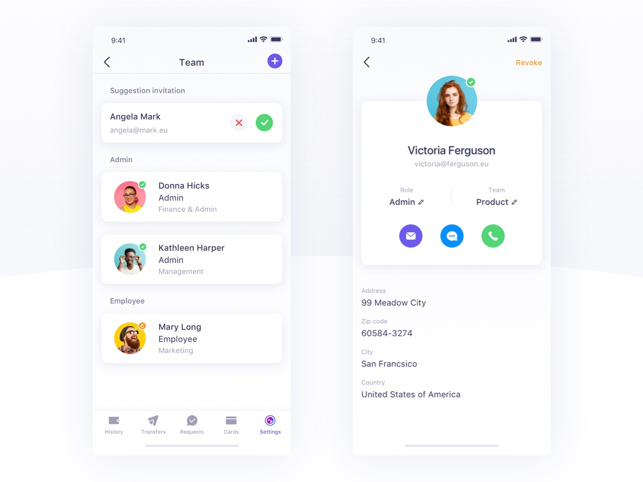Team Section  - Qonto design ui mobile app iphonex ios mobile mobile app design invitation settings adress bank contact list contact card profile role phone contact team status member