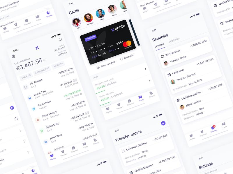 New headers & transfers list - Qonto bank account bank app interface ui transfer account card finance app mobile ios bank qonto