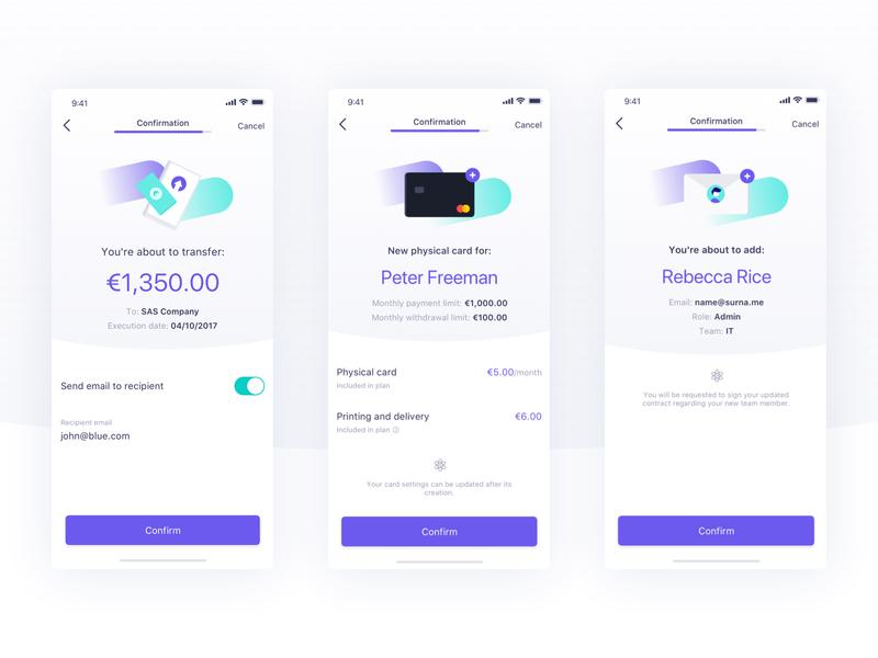 Confirmation screens iOS - Qonto mobile app illustration progress bar interface ios qonto bank ui inviation transfer shipping card initiate creation flow