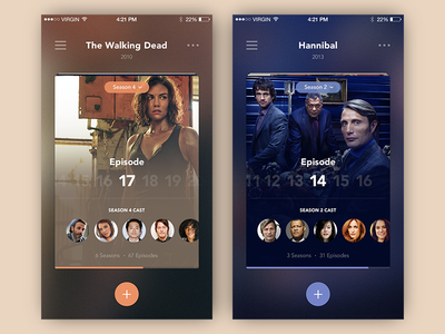 Series Episodes Counter hannibal the walking dead minimal color tracking tv series iphone ux ui app