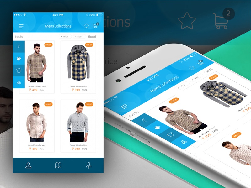 Mobile app product screen by madhan on dribbble for E commerce mobili