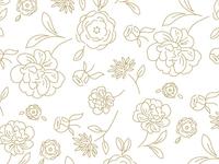 Floral Pattern - Line Art