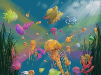 Under spirit ocean colors party surreal utopia jellyfish illustration