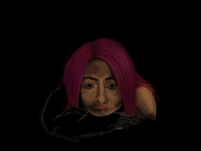 Ilaria tears sadness woman pink hair sketch portrait human illustration