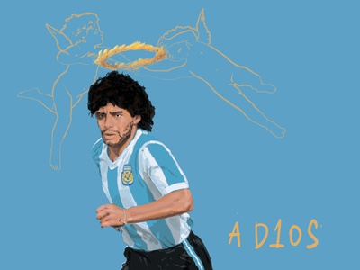 Maradona poster argentina illustration light blue gods maradona soccer