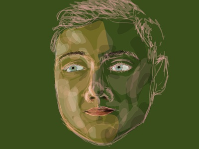 Stefano pink sketch green guy man portrait human illustration