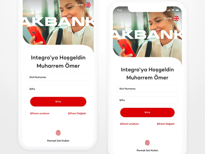Akbank Integro Mobile Banking App simple animation interaction interface app ios minimal clean ux ui dashboard card loan credit card banking app fintech finance banking