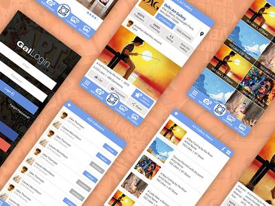 Gallery IOS App for Artists painting gallery artist app screenflow taskflow wireframe visual design ui  ux design