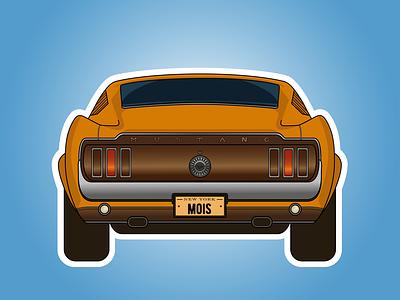 Car wheels ride musclecar sticker shelby mustang car web illustration design