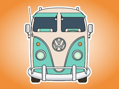 Volkswagen car sticker adventure flat happy minivan van hippie web vector volkswagen illustration design car