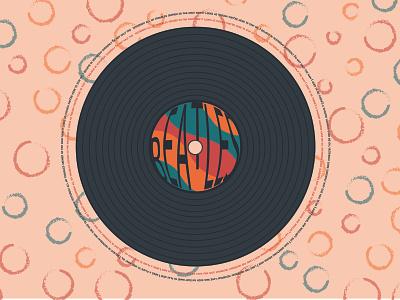 BEATLES happy sticker flat song lyrics music song web illustration design beatles vinyl