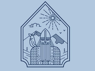oldman adventure happy sign the sun the mountains bird viking vector web illustration design lines