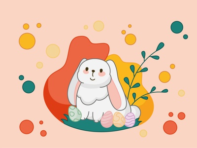 Happy easter rabbit grass nice tenderness sticker flat circles branches eggs bunny easter happy vector design illustration