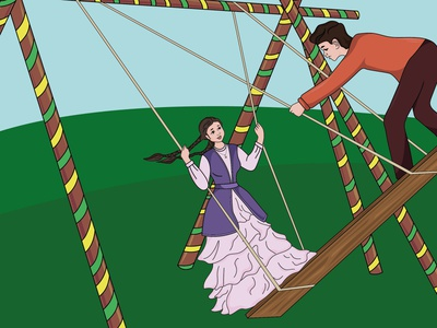 Kazakh girl dress yong field couple adventure happy vector illustration navruz nauryz swing girl kazakh altybakan