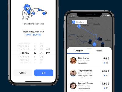 Carpool – Pick up ios pool car ui app design icon ux