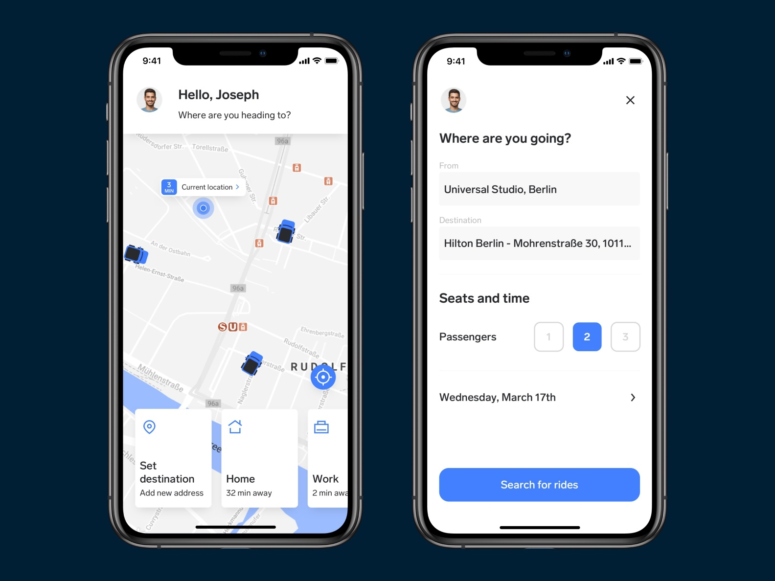 Carpool App – Set a new destination