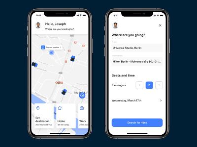 Carpool App – Set a new destination ios app maps ux ui carpool pool car