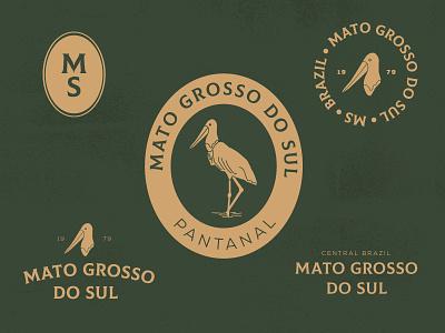 #01 | Mato Grosso do Sul vector visual icon logo brand brasil br states green illustrator design retro bagde brazil