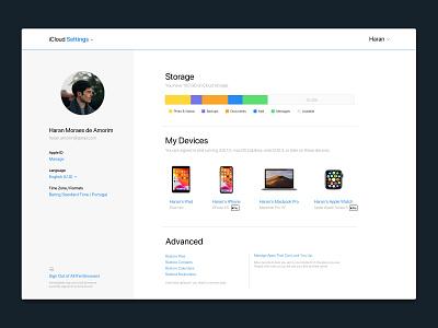 iCloud — Web Settings redesign web minimal uxui product apple icloud ios