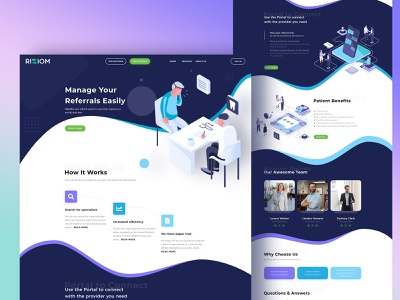 RIZIOM - Referral Website for Doctors & Patients illustration isometric ux ui referral doctor website doctor homepage design home page homepage landing page design landing design landing page landing design website design web design webdesign website web