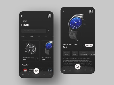 Time House - Watch Product App ui uiux ui design design ui designers watch store app application light mobile mobile ui app design dark dark app dark ui dark mode concept shop trend