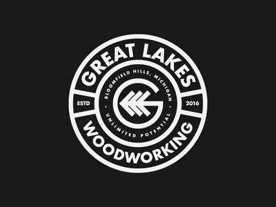 Great Lakes Wood Working Badge badge woodworking logo construction logo carpenter g logo badge logo badgedesign carpentry woodworking