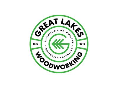 Great Lakes Wood Working Badge logo woodworking logo carpenter carpentry g logo badge logo badge badgedesign woodworking