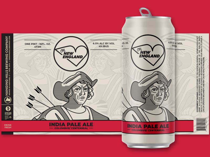 Oh, New England - Columbus line art illustration illustrator columbus beer can beer branding beers package mockup package design packagedesign package can art ale ipa beer beer art