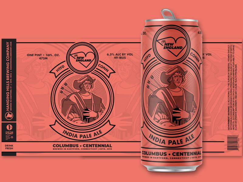 Oh, New England - Columbus - REJECTED beer art beer ipa ale can art package packagedesign package design package mockup beers beer branding beer can columbus illustrator illustration line art